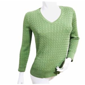 Lands End Green Cable Knit V-Neck Cotton Sweater